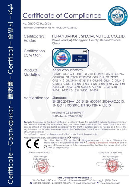 Çin Henan Jianghe Special Vehicle Technologies Co.,Ltd Sertifikalar